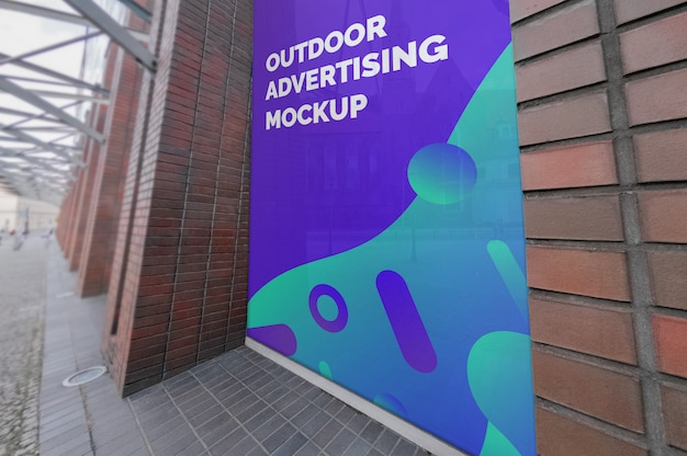 Mockup of outdoor vertical advertising on window Premium Psd
