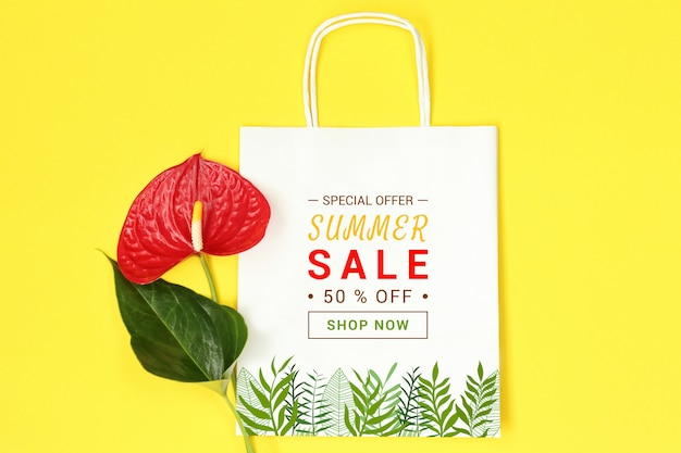 Mockup paper package on yellow background Premium Psd