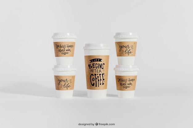 Mockup Of Plastic Coffee Cups Free Psd File