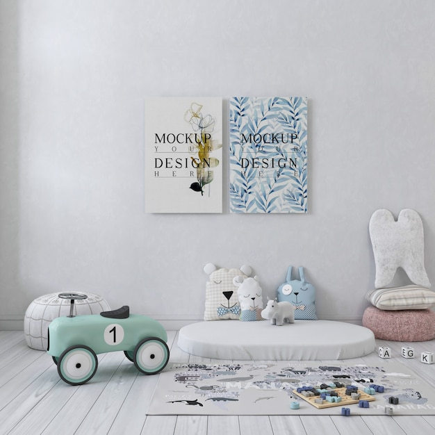 Mockup poster canvas in  white simple children bedroom Premium Psd