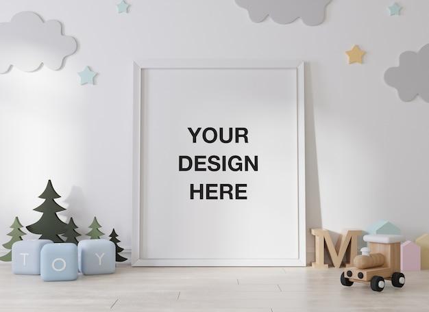 Mockup poster frame in children room rendering Premium Psd