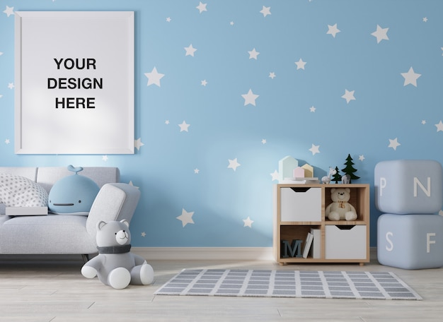 Mockup poster frame in children room rendering Premium Psd