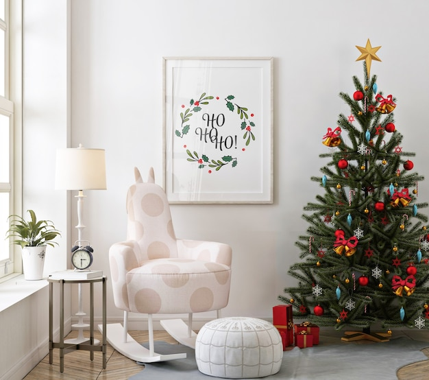 Mockup poster frame in christmas living room with christmas tree Premium Psd