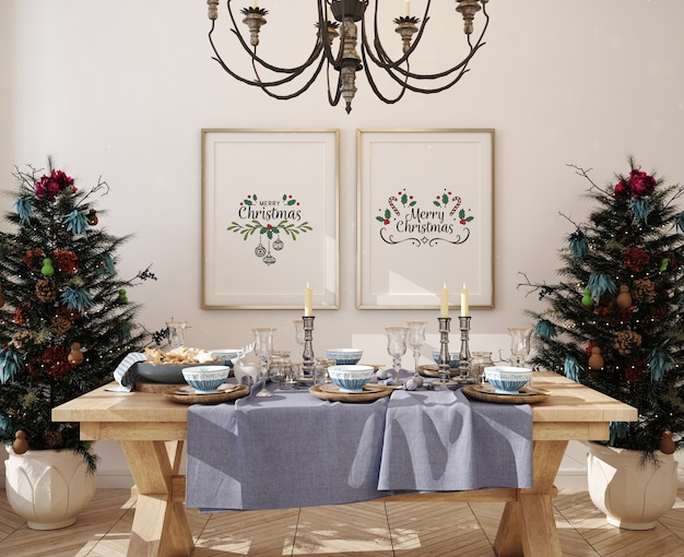 Mockup poster frame in dinning room with christmas tree Premium Psd
