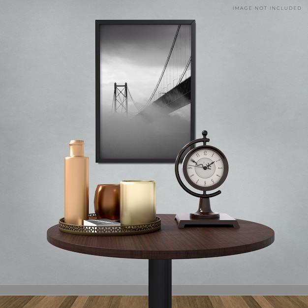 Mockup poster frame in the empty frame standing on room modern interior Premium Psd