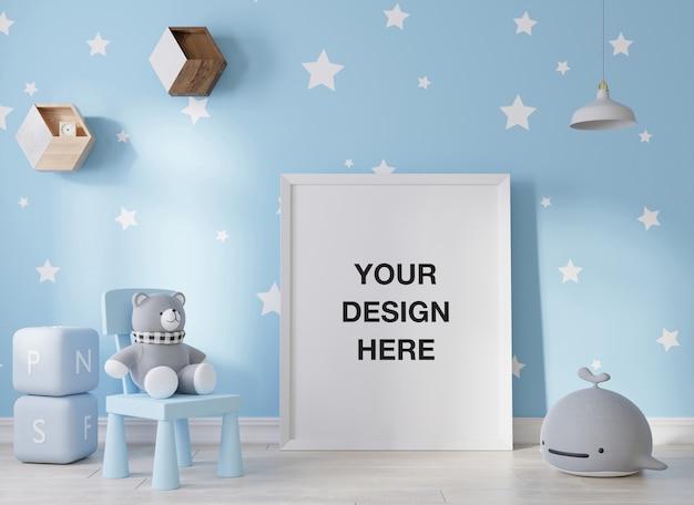 子供部屋の3dレンダリングのモックアップポスターフレーム Premium Psd