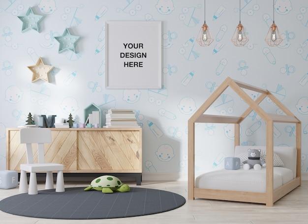 子供部屋のモックアップポスターフレーム Premium Psd