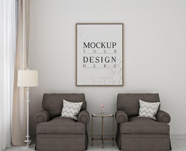 2つのソファとモダンなクラシックなベッドルームのモックアップポスターフレーム Premium Psd