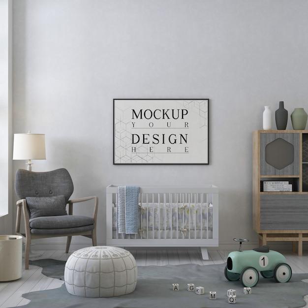 モダンな保育室のモックアップポスターフレーム Premium Psd