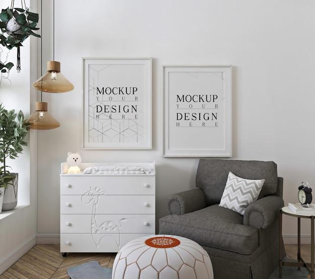 白い保育室のモックアップポスターフレーム Premium Psd