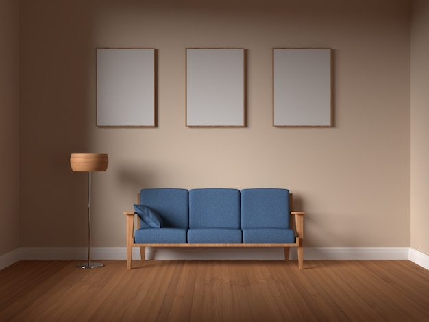 Mockup poster frame in interior living room with sofa Premium Psd