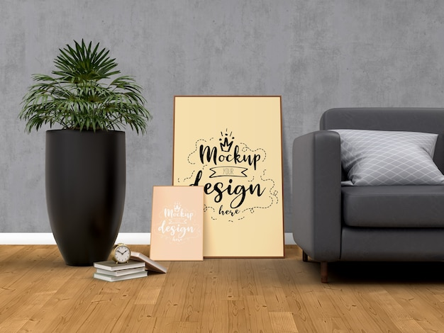 거실 현대적인 인테리어에 홈 장식과 모형 포스터 프레임. 무료 PSD 파일