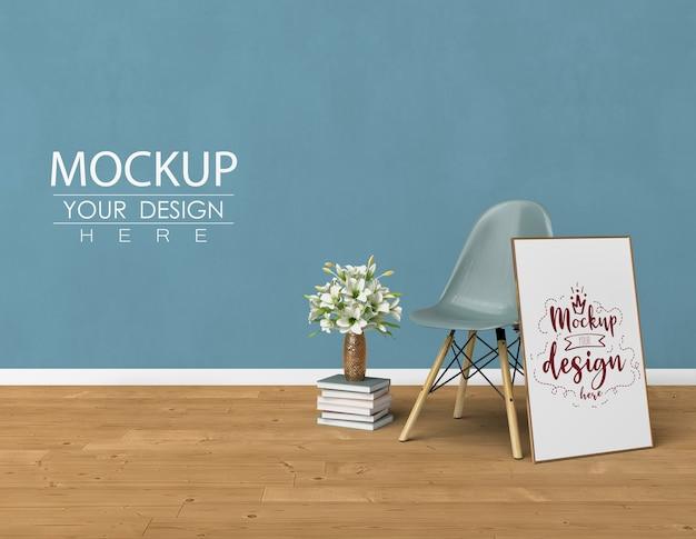 リビングルームのモダンなインテリアに家を飾るモックアップポスターフレーム。 無料 Psd