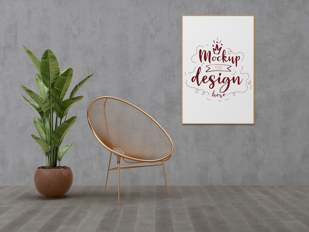 Mockup poster frame with home decorating in the living room modern interior. Free Psd
