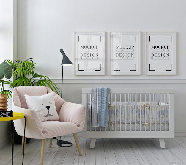 Mockup poster frames in white nursery room with pink armchair Premium Psd