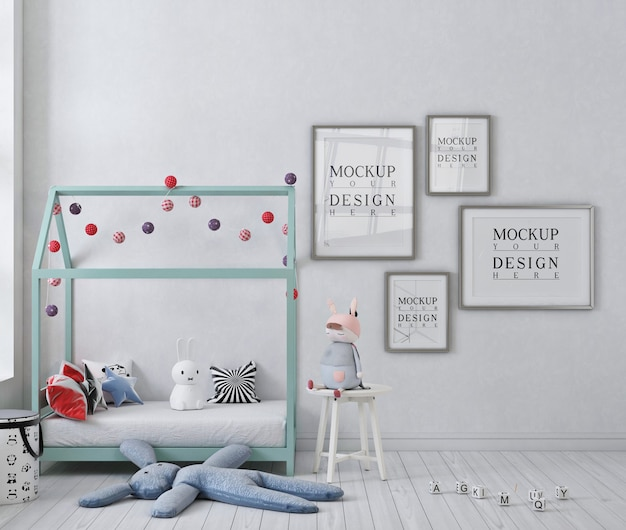 Макет плаката в белой детской спальне с кроватью с балдахином Premium Psd