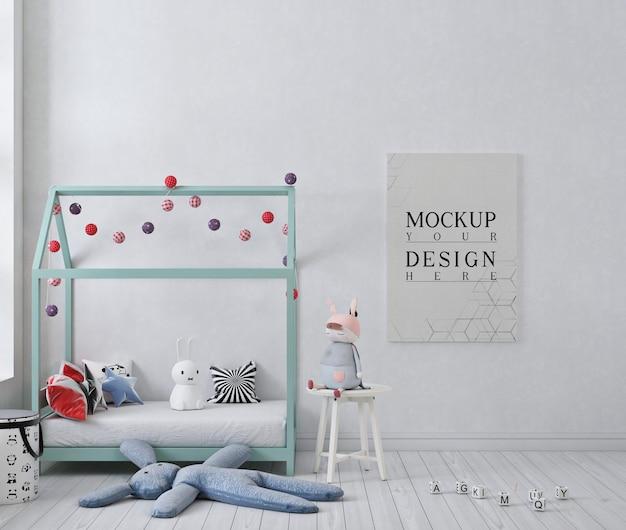 ポスターと白い子供の寝室のモックアップポスター Premium Psd