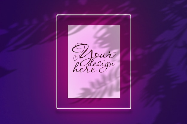 Mockup poster in a neon frame with a pink glow. scene on violet wall with tropical overlay palm shadows with free space inside Premium Psd
