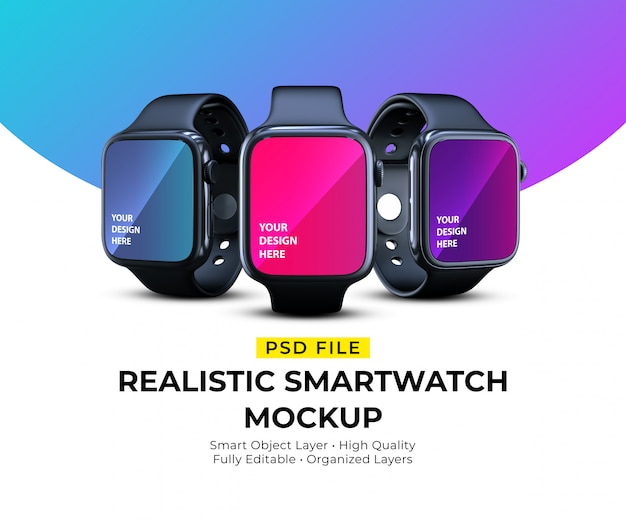Mockup of realistic elegant smartwatches in different angles Premium Psd