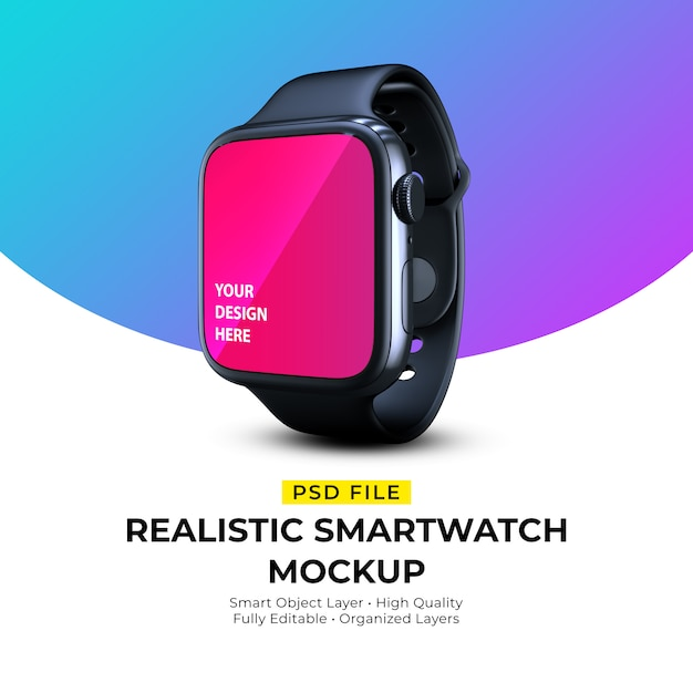 Mockup of realistic elegant wearable smartwatch Premium Psd