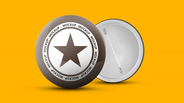 Mockup of a round metallic pin Premium Psd
