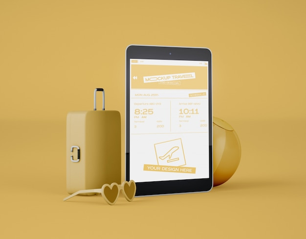 Mockup of screen digital tablet. summer trip and travel concept. Premium Psd