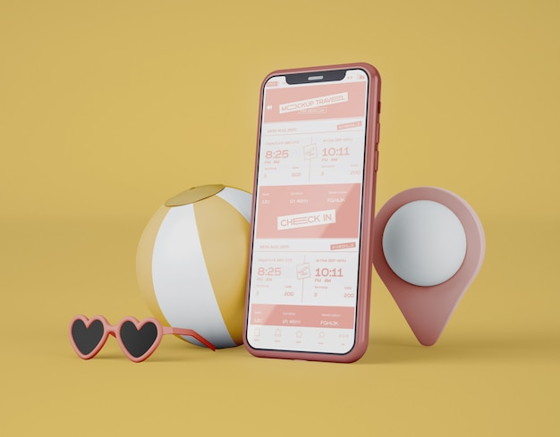 Mockup of screen smartphone. summer trip and travel concept. Premium Psd