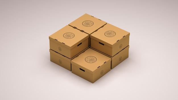 Mockup of seven cardboard boxes Premium Psd