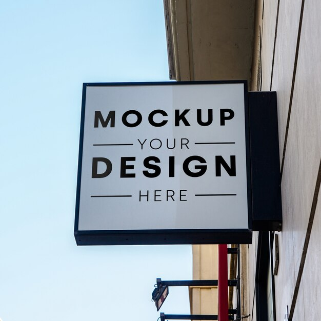 Mockup sign store city Free Psd