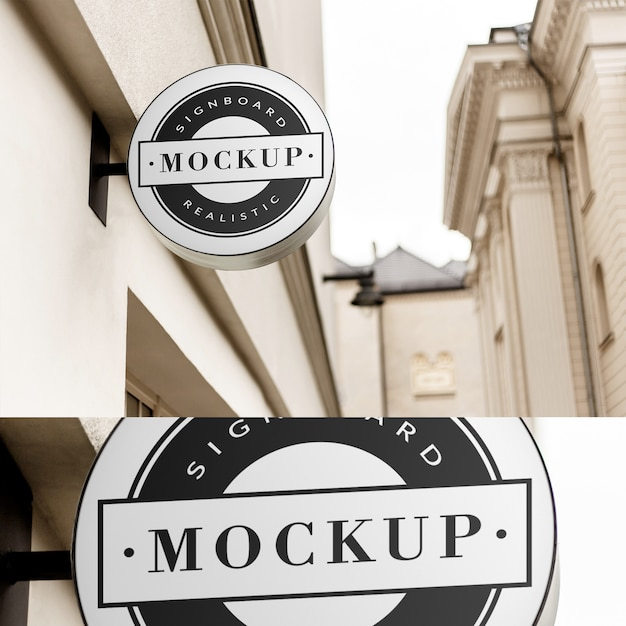 Mockup of  simple circle shaped neon signboard in  clean classic architecture area Premium Psd
