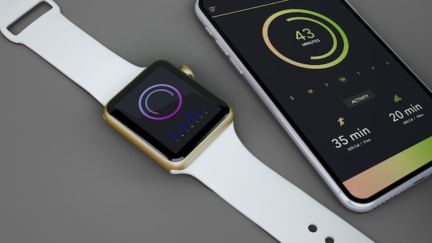Mockup of smartwatch and smartphone Free Psd