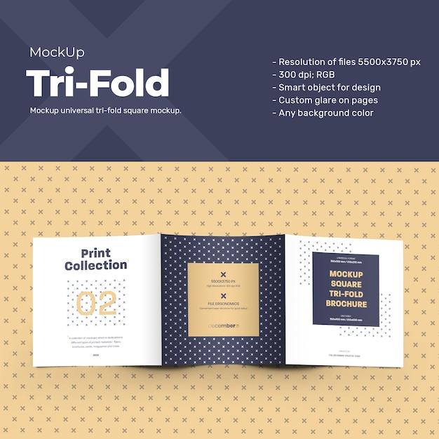 Mockup square tri-fold brochures Premium Psd