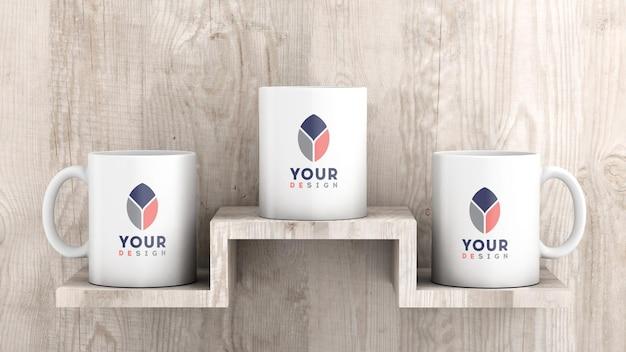 Mockup of three white ceramic coffee mug wood background Premium Psd