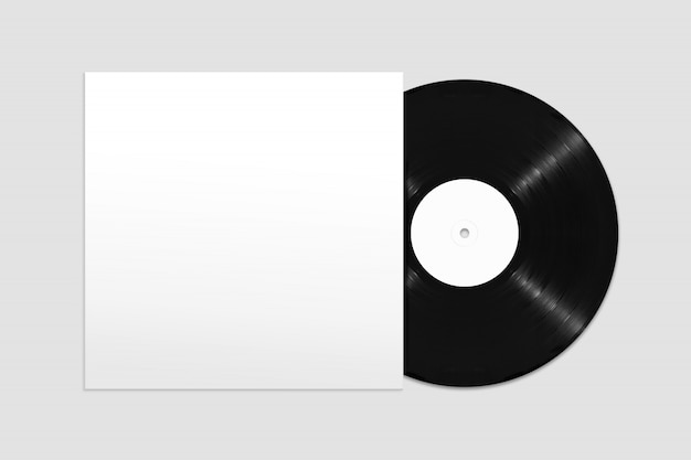 Mockup of top view blank vinyl record with cover Premium Psd