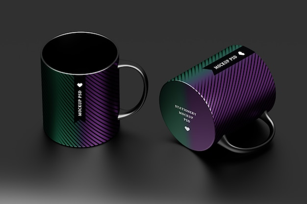 Mockup of two black mugs with editable surface design Premium Psd