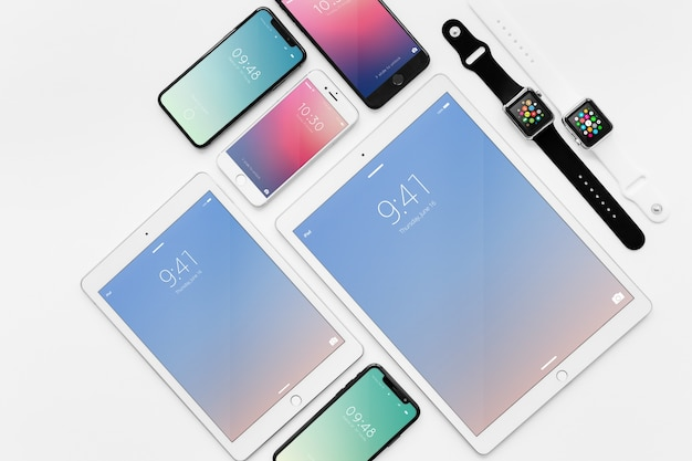Mockup of various devices Free Psd
