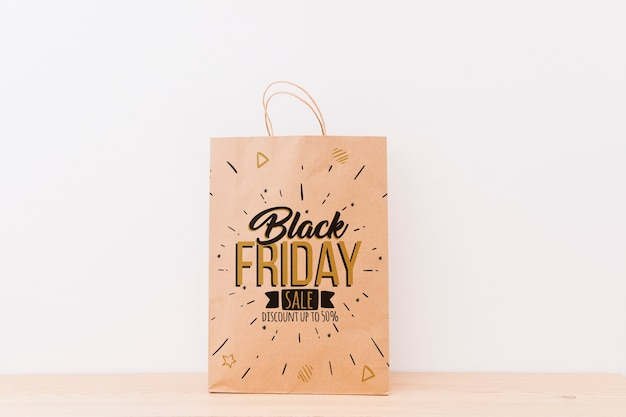 Mockup of various shopping bags for black friday Free Psd