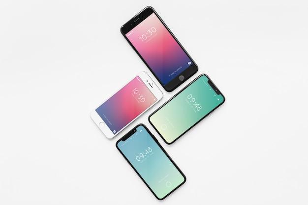 Mockup of various smartphones Free Psd
