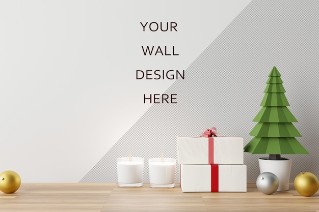 Mockup wall art with christmas decoration scene. 3d rendering. Premium Psd