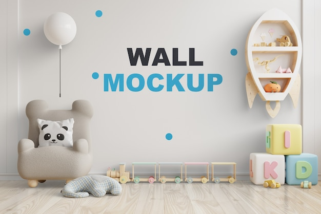 Mockup wall in the children's room on wall white colors .3d rendering Premium Psd