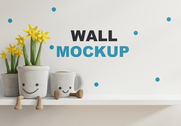 子供部屋の白い棚のモックアップ壁3dレンダリング 無料 Psd