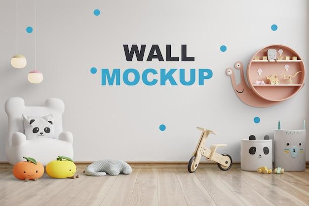 壁の白い色の子供部屋のモックアップ壁。3dレンダリング Premium Psd