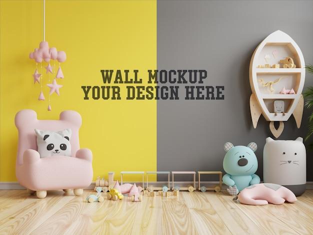 黄色の照明と究極の灰色の壁の子供部屋のモックアップ壁 無料 Psd