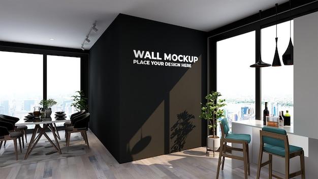 Mockup wall in modern restaurant rendering Premium Psd