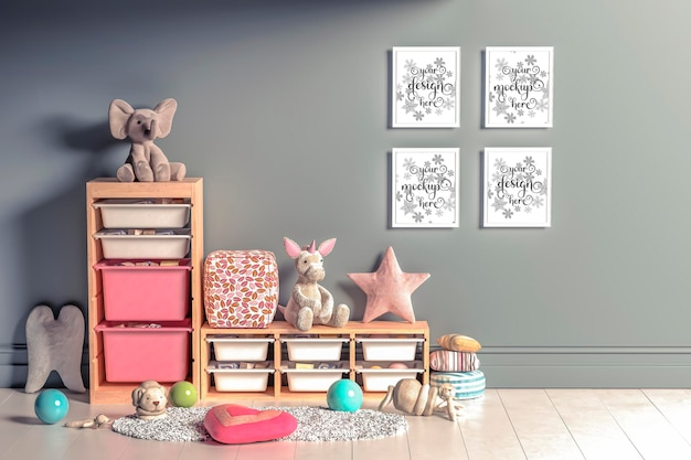 Mockup wall posters in the childrens room in 3d rendering