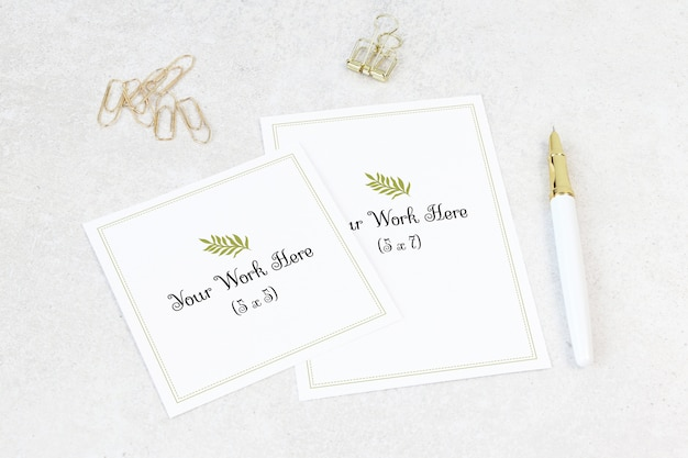 Mockup wedding card with thank you card Premium Psd