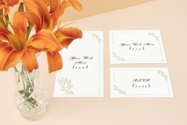 Mockup  wedding menu, invitation card and  thank you card on beige background Premium Psd