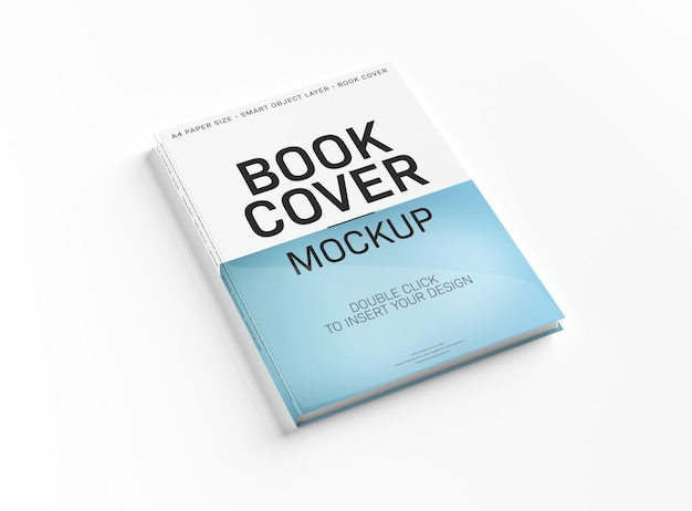 A mockup of a white book cover on white surface. Premium Psd