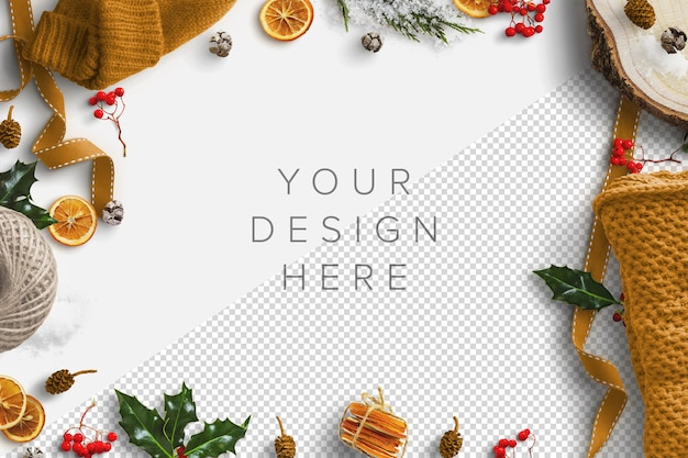 Mockup winter scene with dried fruit, woollen clothing, holly, berries and pine cone Premium Psd