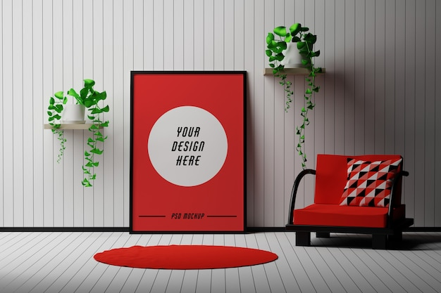 Mockup with a4 picture frame standing in a room with chair and flowers Premium Psd